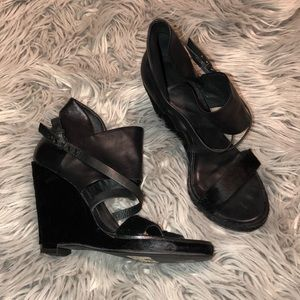 All saints fur and leather wedge sandals 38 8